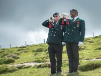 Two Buglers playing the last post during the service. An ANZAC day service was held today in Wiltshire to commemorate the sacrifice made by the Australian Imperial Forces and remember their presence here in the County. The occasion also marked the formal opening of the restored chalk map of Australia. Guests included Mrs Sarah Troughton, the Lord Lieutenant of Wiltshire and Mr Matt Anderson, the Deputy Australian High Commissioner, Colonel Andrew Dawes, Commander South West and Lieutenant Colonel Ben Passmore, Australian Army UK Liaison Officer. We are also immensely privileged to be joined by Mrs Jill Young Who travelled from Australia to lay a wreath in memory of her father Albert Haslet, a Bombardier with the 12th Artillery Brigade, AIF, stayed at Hurdcott Camp between April and June 1918 recovering from wounds.