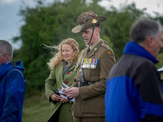 Lieutenant Colonel Ben Passmore, Australian Army UK Liaison Officer, giving a speech at the service. An ANZAC day service was held today in Wiltshire to commemorate the sacrifice made by the Australian Imperial Forces and remember their presence here in the County. The occasion also marked the formal opening of the restored chalk map of Australia. Guests included Mrs Sarah Troughton, the Lord Lieutenant of Wiltshire and Mr Matt Anderson, the Deputy Australian High Commissioner, Colonel Andrew Dawes, Commander South West and Lieutenant Colonel Ben Passmore, Australian Army UK Liaison Officer. We are also immensely privileged to be joined by Mrs Jill Young Who travelled from Australia to lay a wreath in memory of her father Albert Haslet, a Bombardier with the 12th Artillery Brigade, AIF, stayed at Hurdcott Camp between April and June 1918 recovering from wounds.